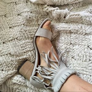 Baby blue fringe heels